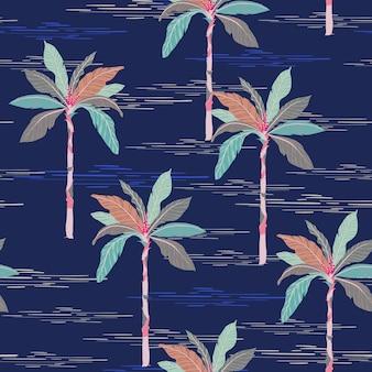 Verano patrón de palmera transparente sobre fondo azul oscuro.