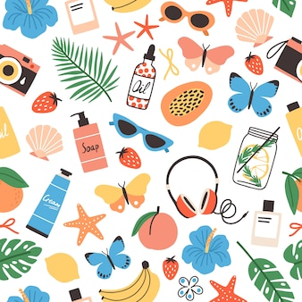 Verano de patrones sin fisuras frutas tropicales frescas, conchas marinas