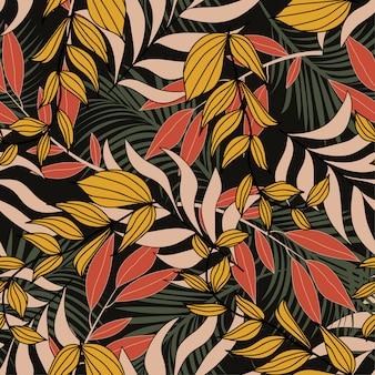 Verano de patrones sin fisuras hawaiano con plantas tropicales