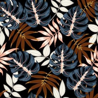 Verano de patrones tropicales sin fisuras con hojas y plantas