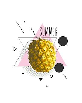 Verano con piña en la ilustración