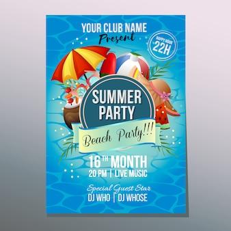 Verano playa fiesta cartel plantilla vacaciones colorido paraguas playa