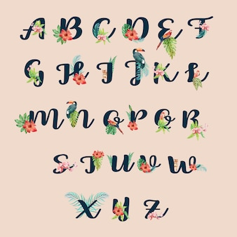 Verano tipográfico de escritura tropical alfabeto con concepto de follaje de plantas