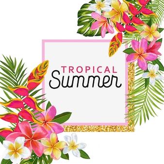 Verano tropical con flores exóticas enmarcada ilustración