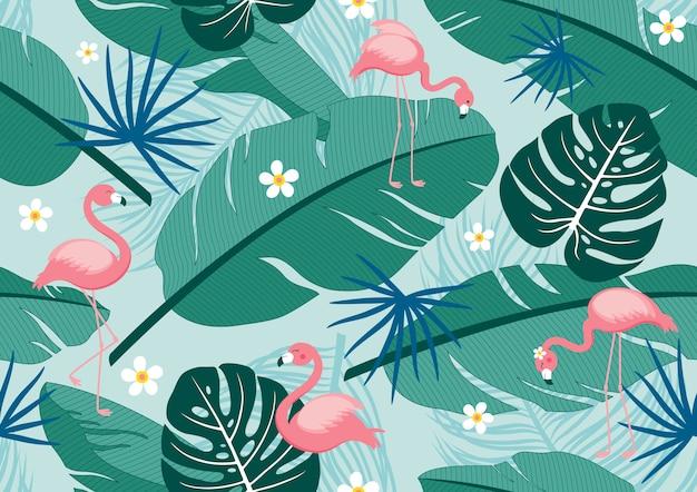 Verano tropical de patrones sin fisuras de hojas y flamencos.