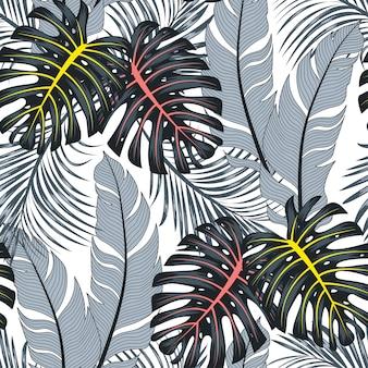 Verano tropical de patrones sin fisuras con hojas y plantas brillantes sobre un fondo blanco.