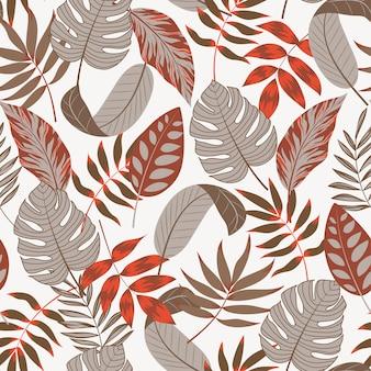 Verano tropical de patrones sin fisuras con hojas y plantas sobre fondo blanco.