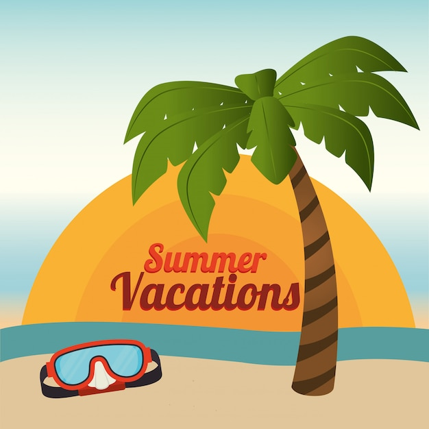 Verano y vacaciones, palmeras y gafas de buceo en la playa.