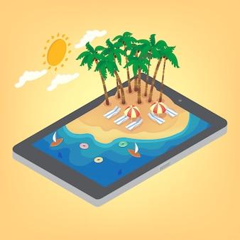 Verano vacaciones tropicales isométricas