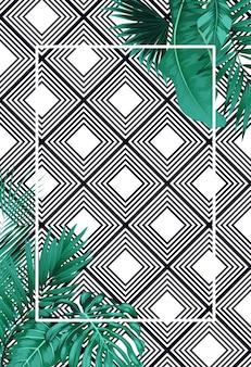 Verano verde con hojas tropicales en patrón.