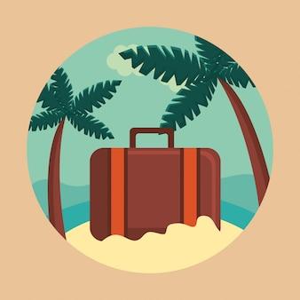 Verano y viajes, maleta en el paraíso en círculo.