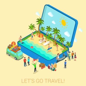 Verano viajes playa vacaciones plana 3d web isométrica infografía turismo concepto vector plantilla. abra la maleta con orilla del mar hippie van surfer chicas jóvenes en bikini. colección de personas creativas.