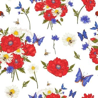 Verano vintage patrón floral sin fisuras con amapolas rojas florecientes manzanilla mariquita y margaritas acianos abejorro abeja y mariposas azules.