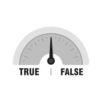 Verdadero falso calibre de medición. ilustración de indicador de vector. medidor con flecha negra sobre fondo blanco.