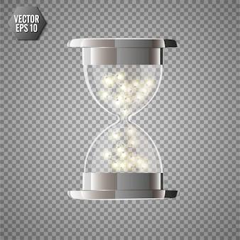 Verdadero reloj de arena transparente con luces brillantes en el interior, aislado sobre fondo transparente.