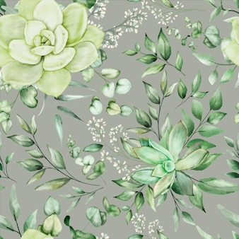 Verde acuarela floral diseño de patrones sin fisuras