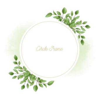 Verde elegante acuarela floral con círculo marco dorado