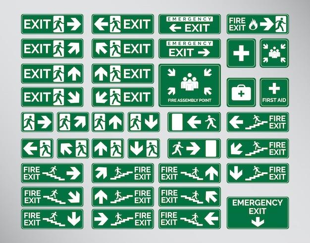 Verde, emergencia, salida, señales, icono, símbolo, conjunto, plantilla