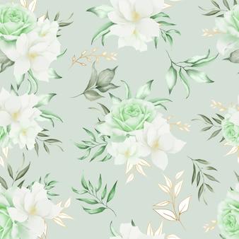 Verde floral de patrones sin fisuras con flores dibujadas a mano