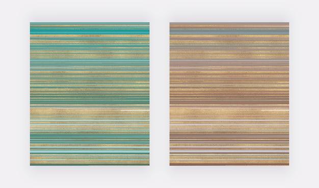 Verde y marrón con textura de acuarela líquida de brillo abstracto dorado