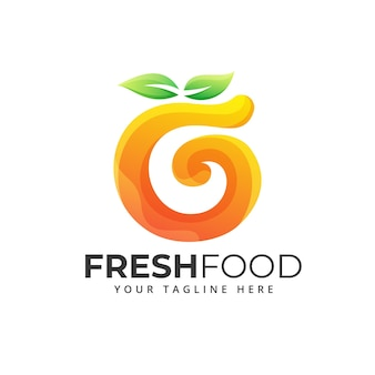 Verduras de alimentos frescos, ilustración de logotipo de icono de fruta