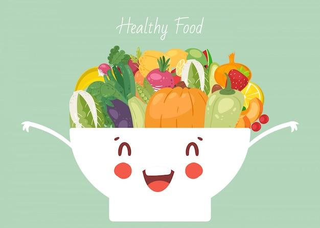 Verduras de alimentos saludables en lindo kawaii tazón ilustración. verduras pimienta, cebolla, calabaza y berenjena, calabaza. comida vegana saludable mezclada en un plato hondo.