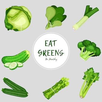 Verduras de alimentos saludables sobre fondo blanco