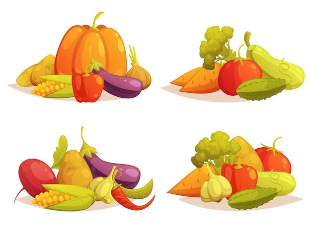 Verduras composiciones 4 iconos cuadrados set