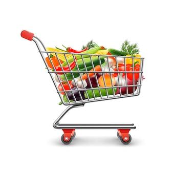 Las verduras concepto realista de compras con carro de la compra y productos vector ilustración