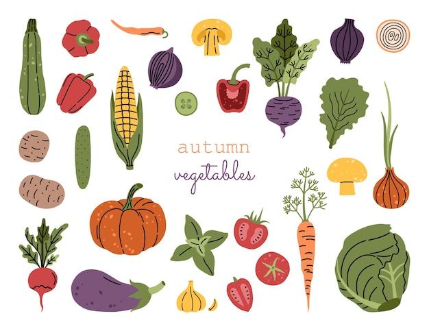 Verduras de cosecha de otoño grande