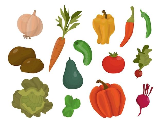 Verduras de dibujos animados aislados sobre fondo blanco amarillo Vector Premium