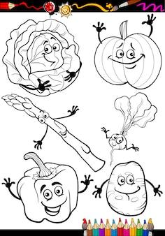 Verduras de dibujos animados para colorear libro
