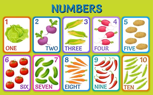 Verduras de dibujos animados. números de tarjetas de niños.