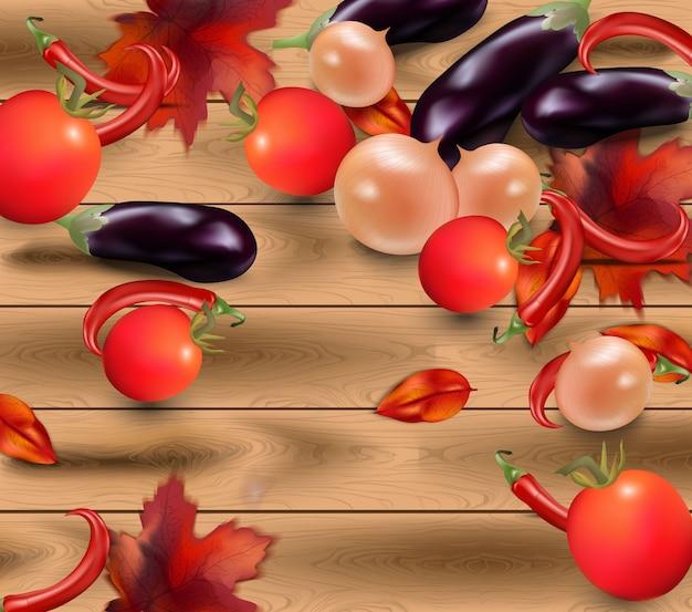 Verduras en el fondo de madera realista