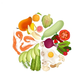 Verduras, frutas, bayas, camarones hervidos, huevos fritos, nueces se alinean en un círculo de colores.