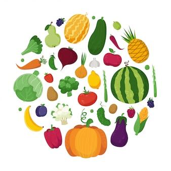 Verduras, frutas y bayas en un círculo.