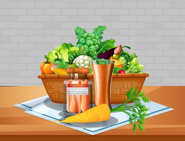 Verduras y frutas en una canasta sobre la mesa con fondo de pared de ladrillo