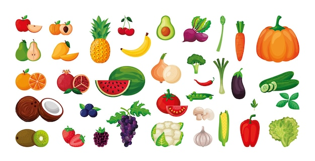 Verduras y frutas conjunto aislado sobre fondo blanco. ilustración vectorial