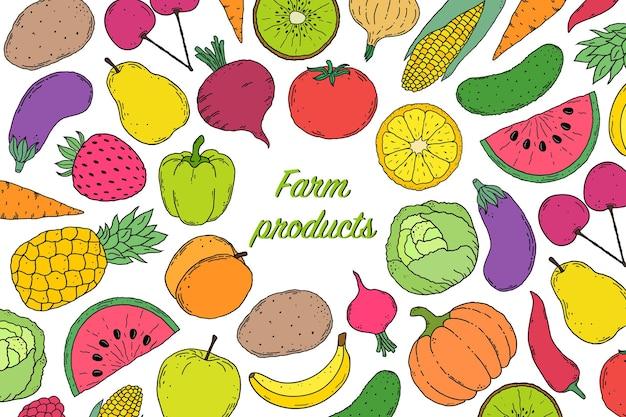 Verduras y frutas en estilo dibujado a mano.