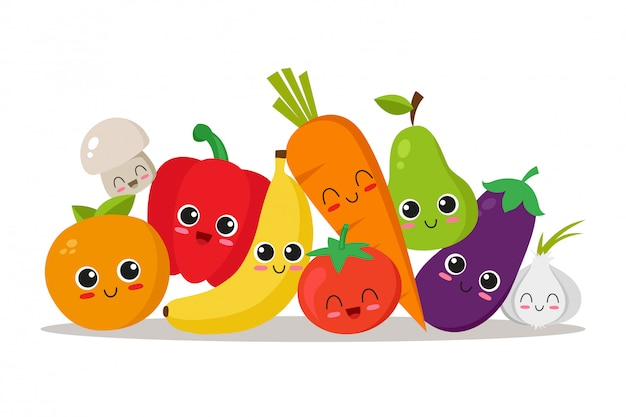 Verduras y frutas lindas, divertidas y felices.