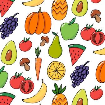 Verduras frutas mano dibujado vector patrón colorido