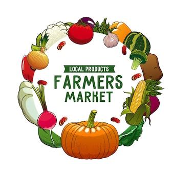 Verduras de la granja: calabaza de marco redondo, pimiento y coliflor con remolacha. patata, espárragos y rábanos con repollo, frijoles, maíz y calabaza. productos de verduras del mercado agrícola de dibujos animados