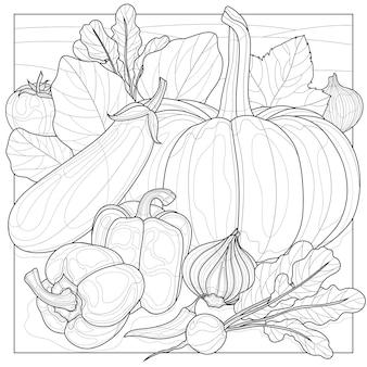 Verduras en el jardín. libro de colorear antiestrés para niños y adultos. ilustración aislada sobre fondo blanco estilo zen-enredo. dibujo en blanco y negro