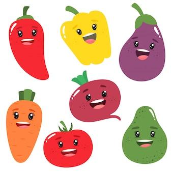 Verduras lindas y divertidas en estilo de dibujos animados. ilustración en estilo plano de dibujos animados.