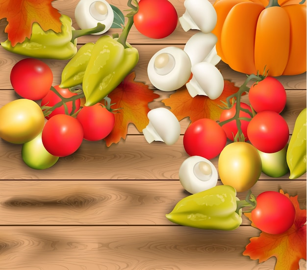 Verduras de otoño sobre fondo de madera realista
