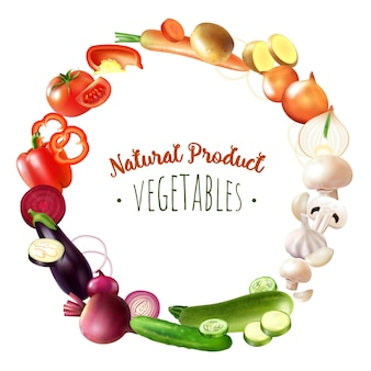Verduras realistas composición de marco redondo con círculo de frutas de colores de paleta con texto editable