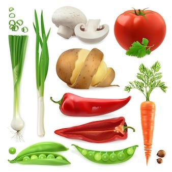 Verduras realistas. patata, tomate, cebolleta, pimiento, zanahoria y vaina de guisantes. conjunto de iconos aislados