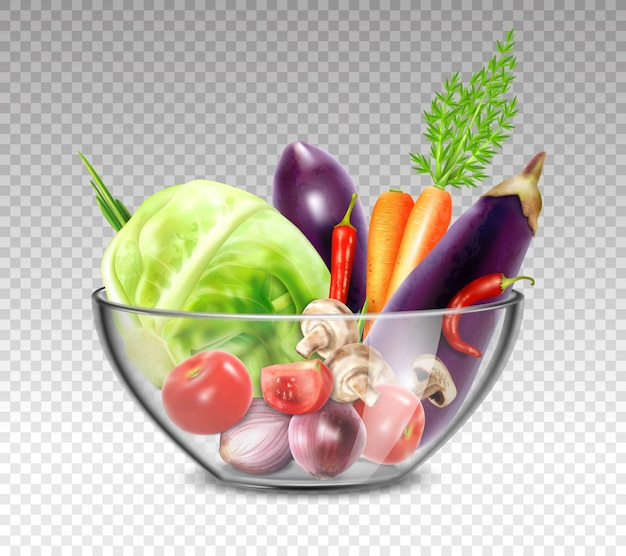 Verduras realistas en un tazón de vidrio