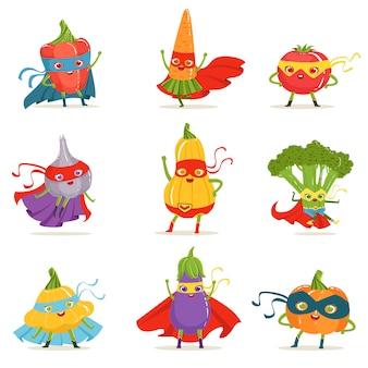 Verduras de superhéroe en máscaras y capas conjunto de lindos personajes de dibujos animados infantiles humanizados