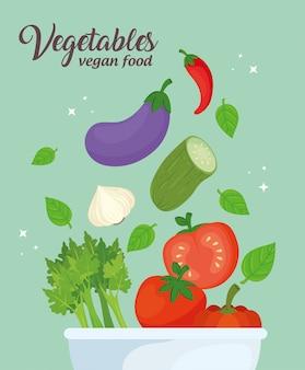 Verduras en un tazón, concepto de comida sana, diseño de ilustraciones vectoriales